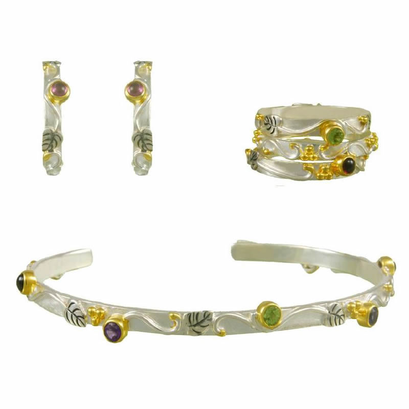 Gemstone Earring, Bracelet, & Ring Sets