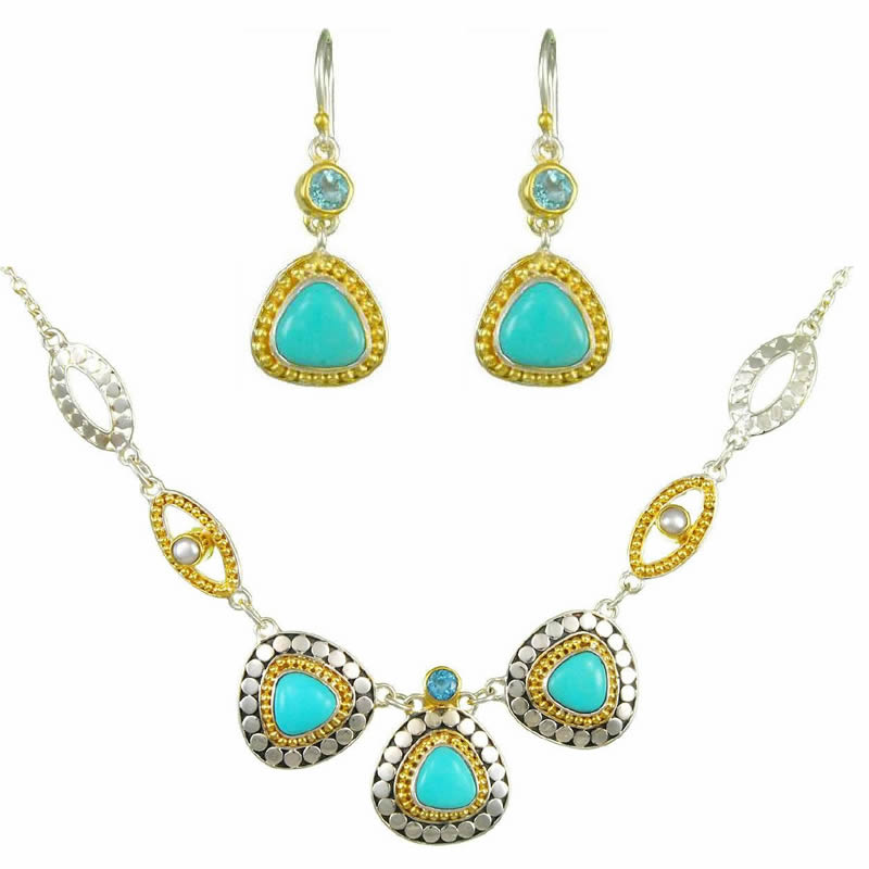 Gemstone Earring & Necklace Set