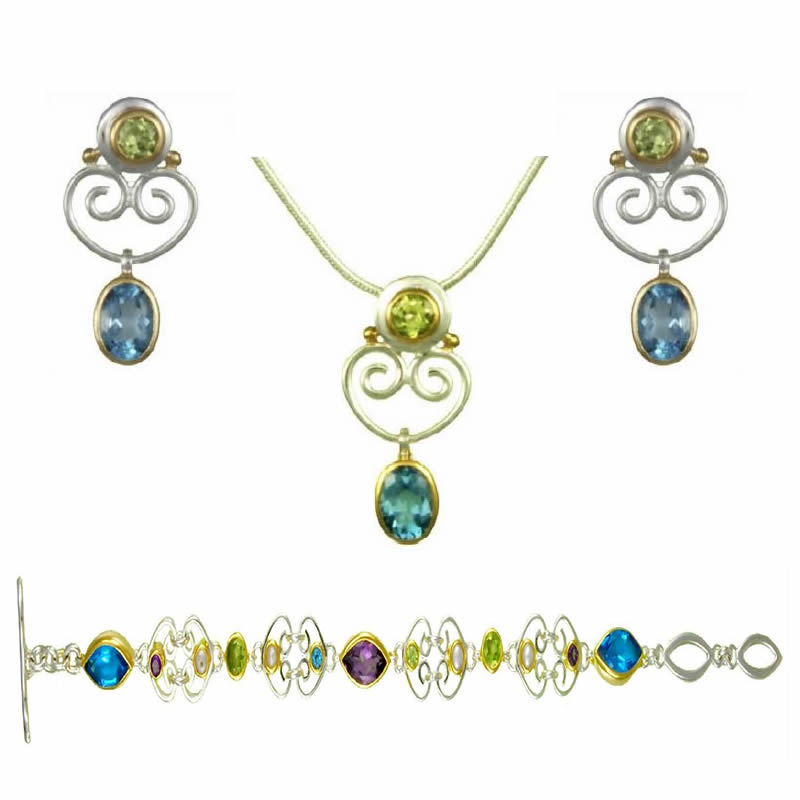 Gemstone Earring, Pendant, & Bracelet Sets