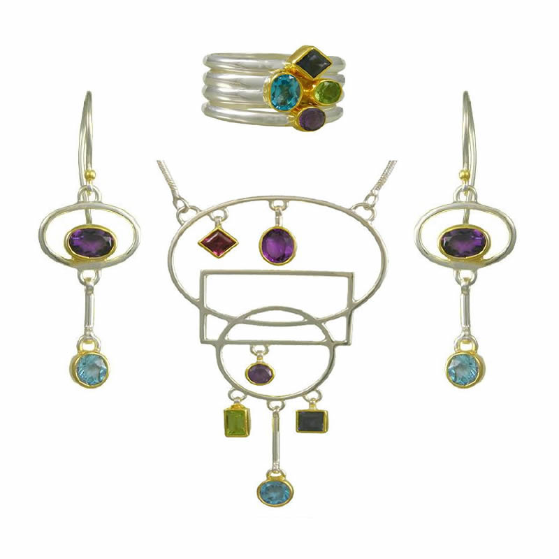 Gemstone Earring, Necklace & Ring Sets