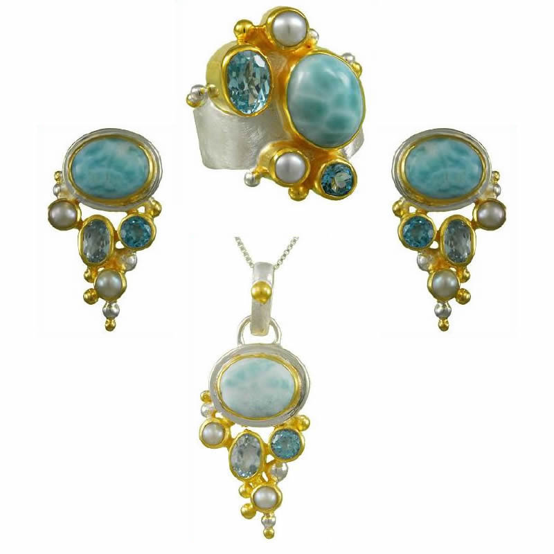 Gemstone Earring, Pendant, & Ring Sets