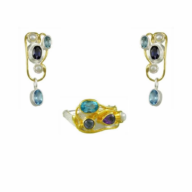 Gemstone Earring & Ring Sets