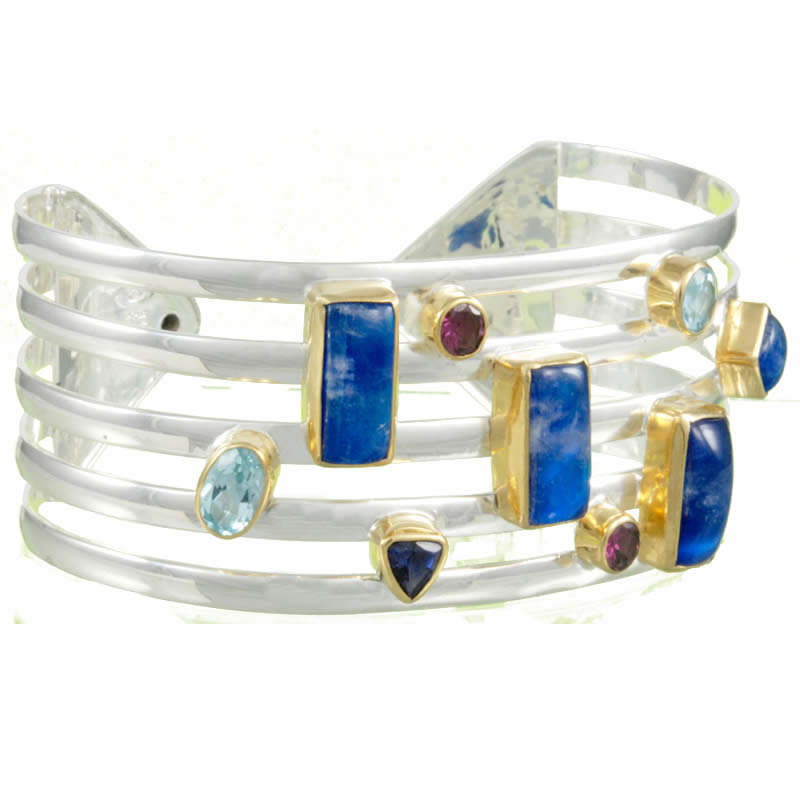 Silver Multi-Color Gemstone Bracelets