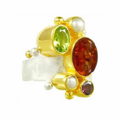 Silver Multi-Color Gemstone Rings