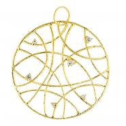 14k Yellow Gold Circle Net Pendant w/0.27 ctw of White Diamonds