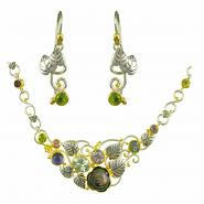 Sterling Silver & 22k Gold Vermeil Earring & Neckalce Set with Black Mother of Pearl and Multi-Color Gemstones