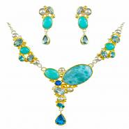 Sterling Silver & 22k Gold Vermeil Earring & Necklace Set with Multi-Color Gemstones