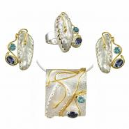 Sterling Silver & 22k Gold Vermeil Earring, Pendant, & Ring Set with White Freshwater Pearl, Iolite and Baby Blue Topaz