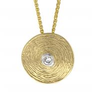 14k Round Textured Plate Pendant w/0.04 ctw of White Diamonds