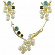 Sterling Silver and 22K Gold Vermeil Necklace & Earring Set with Multi-Color Gemstones and White Freshwater Pearl