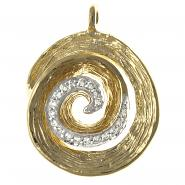14k Yellow Gold Swirl Pendant w/0.09 ctw of White Diamonds