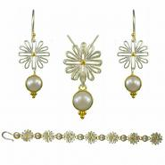 Sterling Silver & 22k Gold Vermeil Earring, Pendant, & Bracelet Set with White Freshwater Pearls