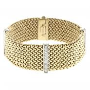 14k Yellow & White Gold Flat Mesh Bracelet w/1.15 ctw Of White Diamond Accents