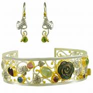 Sterling Silver & 22k Gold Vermeil Earring & Cuff Set with Black Mother of Pearl and Multi-Color Gemstones